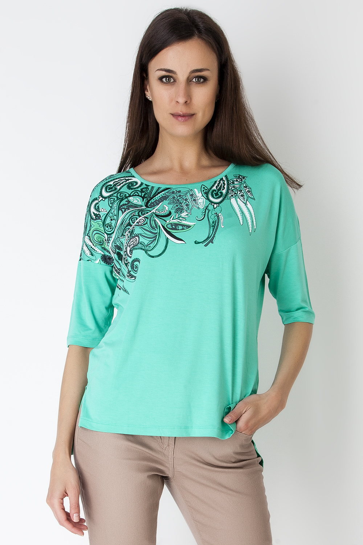 Джемпер женский Vis-A-Vis, цвет: светло-зеленый. LD6202. Размер L (48)LD6202Эффектный джемпер свободного силуэта с рукавом летучая мышь 3/4 и круглым вырезом горловины выполнен из эластичного хлопка.