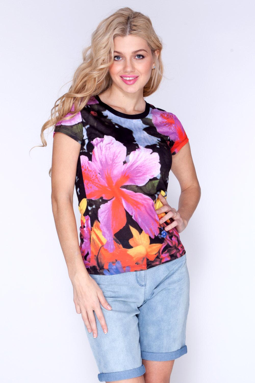 Футболка женская Vis-A-Vis, цвет: розовый, черный. LFV6087. Размер S (44)LFV6087Футболка, выполненная из хлопка с полиэстером оформлена цветочным ярким принтом. Модель с круглым вырезом горловины и короткими рукавами.