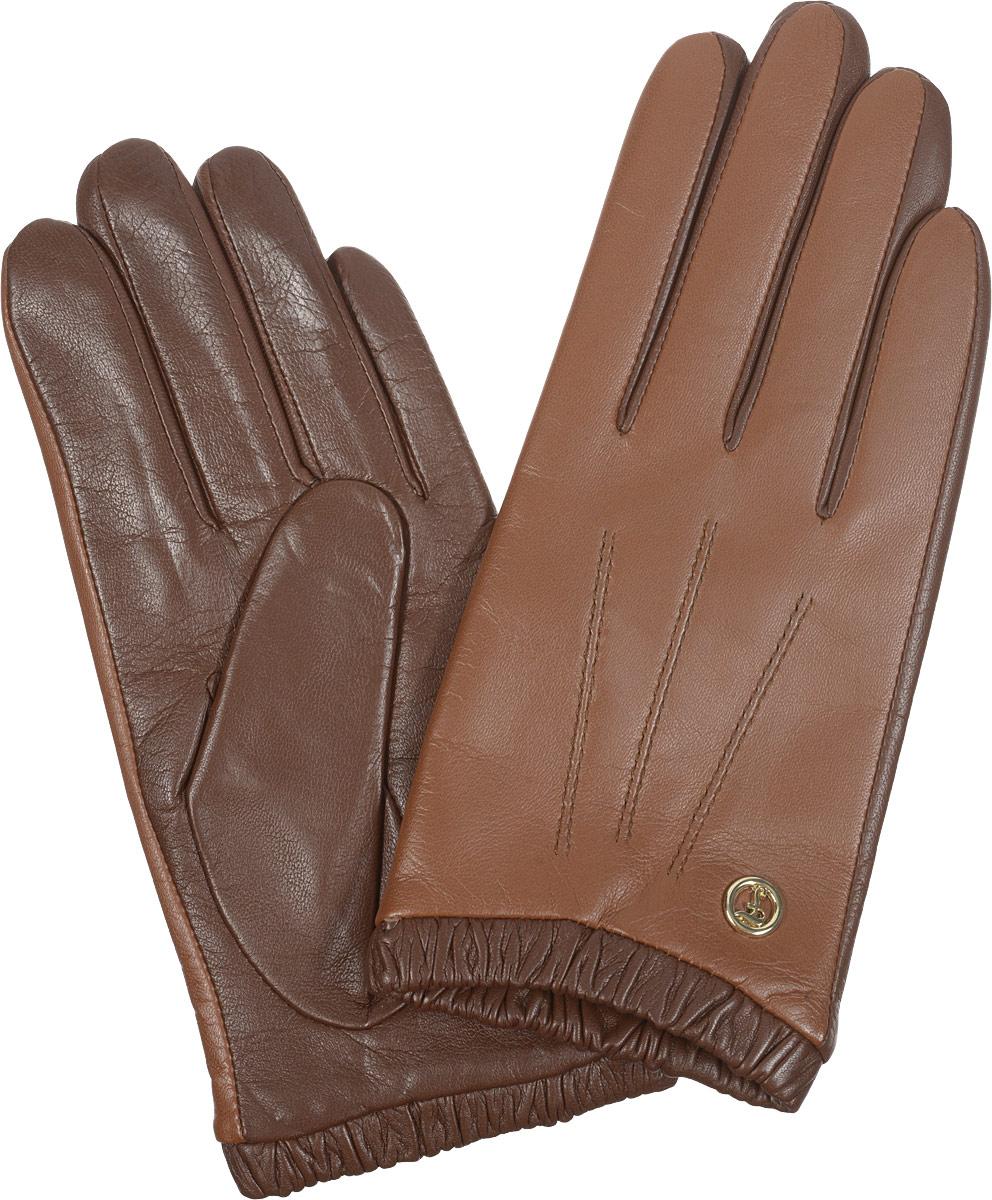 Перчатки женские Fabretti, цвет: коричневый. 2.29-3. Размер 6,52.29-3Элегантные женские перчатки Fabretti станут великолепным дополнением вашего образа и защитят ваши руки от холода и ветра во время прогулок.Перчатки выполнены из натуральной кожи ягненка и имеют подкладку из шерсти с добавлением кашемира, что позволяет им надежно сохранять тепло. Модель оснащена эластичной резинкой на запястье и оформлена декоративной отстрочкой с внешней стороны. Украшено изделие небольшим декоративным элементом с логотипом бренда. Такие перчатки будут оригинальным завершающим штрихом в создании современного модного образа, они подчеркнут ваш изысканный вкус и станут незаменимым и практичным аксессуаром.