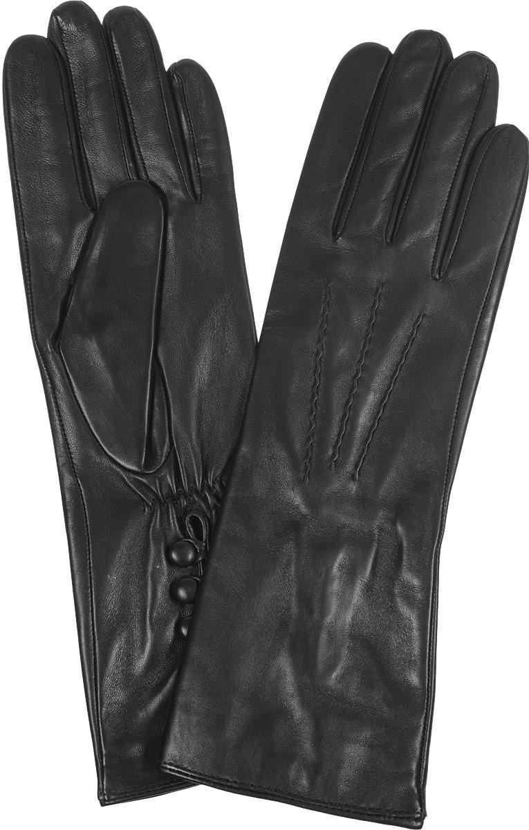 Перчатки женские Fabretti, цвет: черный. 2.42-1s. Размер 72.42-1sВосхитительные женские перчатки Fabretti, выполненные из эфиопской натуральной кожи ягненка на шелковой подкладке, не только защитят ваши руки от холода, но и станут стильным дополнением вашего образа. Лицевая сторона оформлена аккуратной прострочкой три луча. Слегка удлиненные манжеты с тыльной стороны присборены на эластичную резинку для лучшей фиксации и дополнены тремя декоративными пуговицами. Такие перчатки подчеркнут ваш стиль и неповторимость, и придадут всему образу нотки женственности и элегантности.