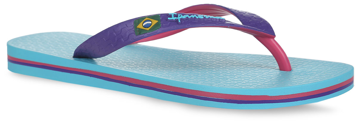 Сланцы Ipanema Brazil Bicolor Unisex AD, цвет: бирюзовый, фиолетовый, розовый. 81046-24177. Размер BRA 33/34 (34/35)81046-24177Очень легкие сланцы от Ipanema придутся вам по душе. Модель выполнена из поливинилхлорида и оформлена на ремешке логотипом бренда. Ремешки с перемычкой гарантируют надежную фиксацию модели на ноге.Подошва оформлена яркими, контрастными линиями. Удобные сланцы прекрасно подойдут для похода в бассейн или на пляж.