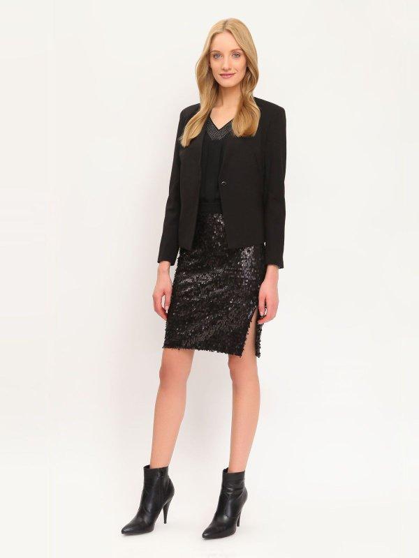 Юбка Top Secret, цвет: черный. SSD0915CA. Размер 38 (44)SSD0915CAЭффектная юбка Top Secret подчеркнет вашу женственность и неповторимый стиль.Оригинальная юбка выполнена из полиэстера, подкладка выполнена из мягкой, приятной на ощупь вискозы. Юбка оформлена множеством блестящих пайеток.Модная юбка-миди выгодно освежит и разнообразит ваш гардероб. Создайте женственный образ и подчеркните свою яркую индивидуальность! Классический фасон и оригинальное оформление этой юбки сделают ваш образ непревзойденным.