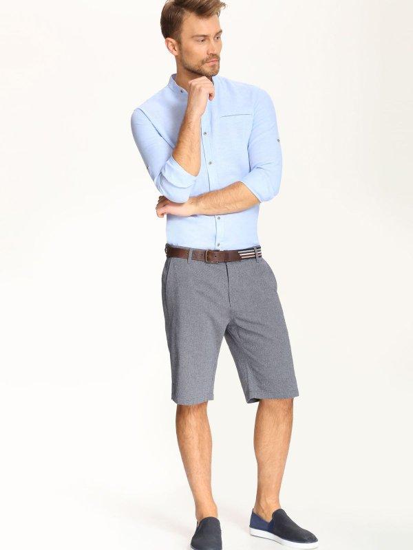 Рубашка мужская Top Secret, цвет: светло-голубой. SKL2017NI. Размер 42/43 (50)SKL2017NIСтильная мужская рубашка Top Secret, выполненная из сочетания лена и хлопка, обладает высокой теплопроводностью и позволяет коже дышать. Модель классического кроя с отложным воротником застегивается на пуговицы. Длинные рукава рубашки дополнены манжетами на пуговицах. На локтях модель оформлена пришитыми заплатками, которые выполнены принтом в полоску.