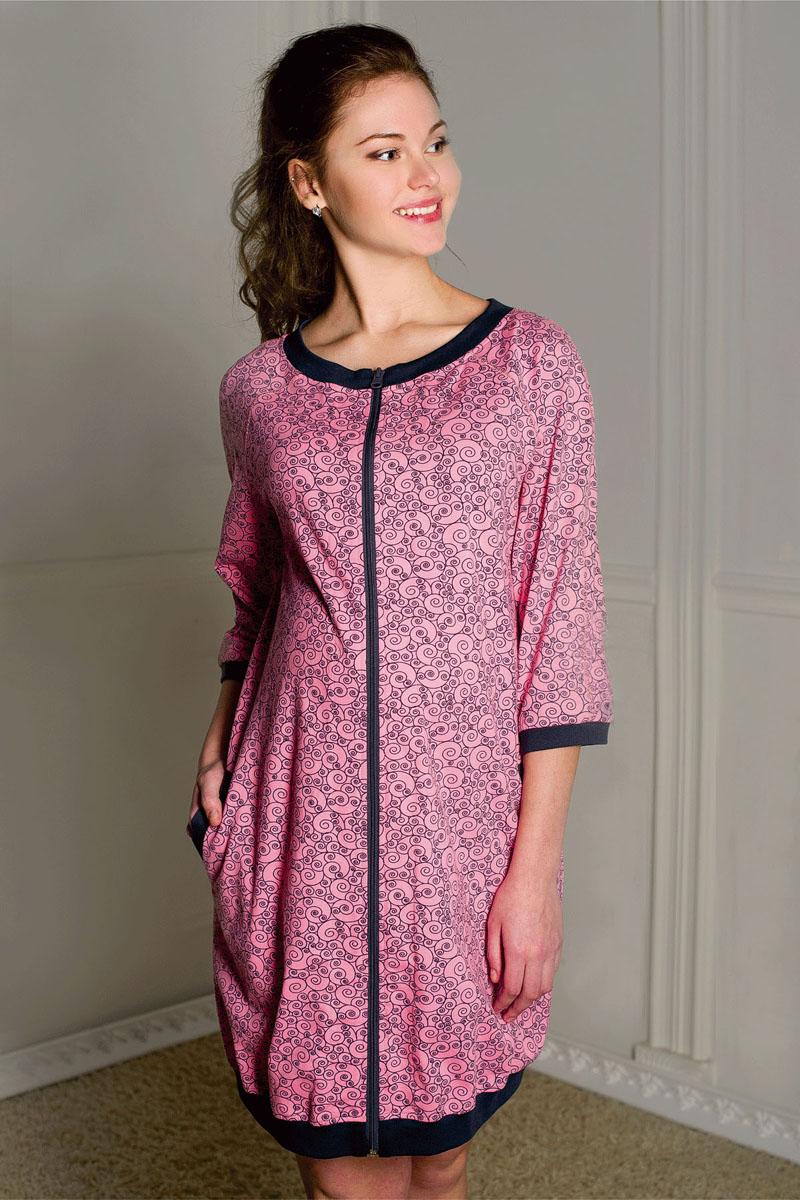 Халат для беременных и кормящих Hunny Mammy, цвет: розовый, серый. 1-К 06602. Размер 481-К 06602Халат-баллон женский для беременных и кормящих выполнен из хлопкового трикотажного полотна. Застежка на молнию, рукав-реглан 3/4, карманы.