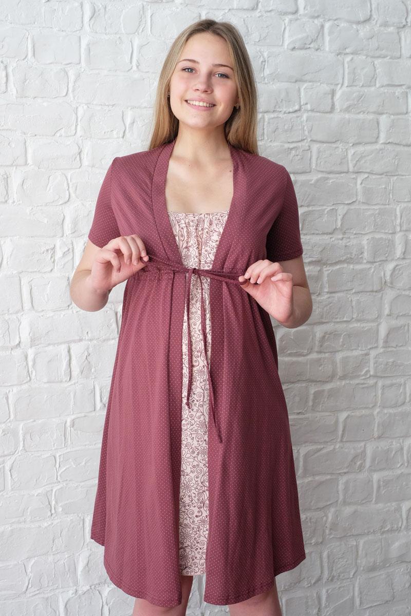 Комплект для беременных и кормящих Hunny Mammy: халат, сорочка ночная, цвет: коричневый, бежевый. 3-К 09220. Размер 503-К 09220Легкий комплект, состоящий из халата-пеньюара и сорочки на бретелях с клипсой для кормления, выполнен из натурального хлопка.
