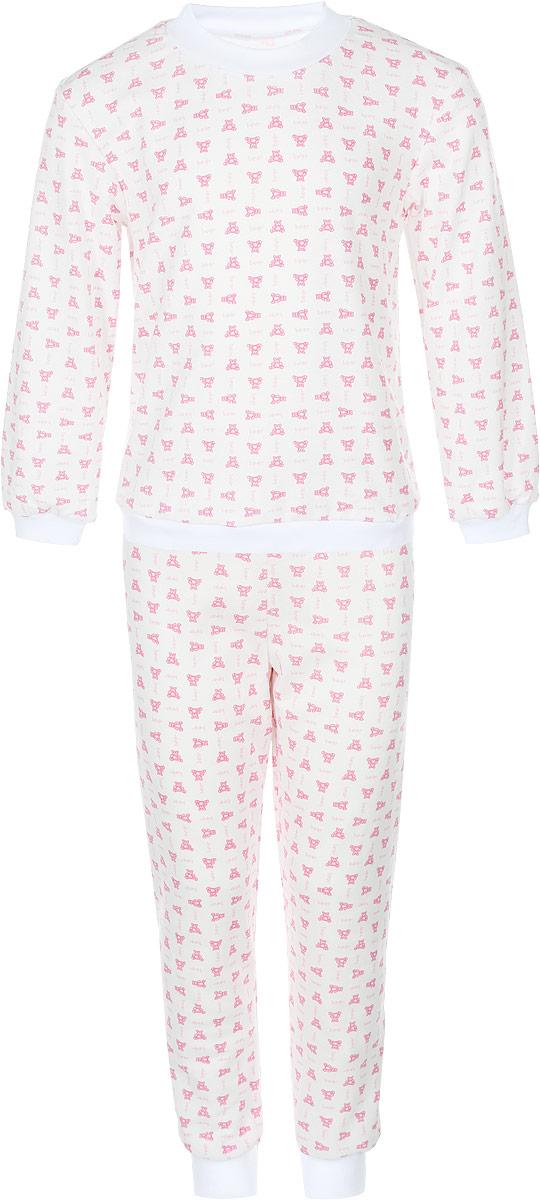 Пижама детская Фреш Стайл, цвет: белый с рисунком. 33-5872. Размер 10433-5872Пижама Фреш Стайл, состоящая из футболки с длинными рукавами и брюк, идеально подойдет ребенку для отдыха и сна. Модель выполнена из натурального хлопка, очень приятная к телу, не сковывает движения, хорошо пропускает воздух. Пижама оформлена яркими рисунками. Футболка с длинными рукавами и круглым вырезом горловины. Воротник, низ рукавов и низ изделия дополнены трикотажными резинками. Брюки прямого кроя имеют на талии мягкую резинку, благодаря чему они не сдавливают животик ребенка и не сползают. Низ брючин дополнен эластичными манжетами. В такой пижаме ребенок будет чувствовать себя комфортно и уютно!
