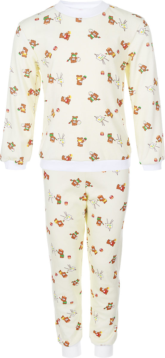 Пижама детская Фреш Стайл, цвет: желтый с рисунком. 33-5872. Размер 8633-5872Пижама Фреш Стайл, состоящая из футболки с длинными рукавами и брюк, идеально подойдет ребенку для отдыха и сна. Модель выполнена из натурального хлопка, очень приятная к телу, не сковывает движения, хорошо пропускает воздух. Пижама оформлена яркими рисунками. Футболка с длинными рукавами и круглым вырезом горловины. Воротник, низ рукавов и низ изделия дополнены трикотажными резинками. Брюки прямого кроя имеют на талии мягкую резинку, благодаря чему они не сдавливают животик ребенка и не сползают. Низ брючин дополнен эластичными манжетами. В такой пижаме ребенок будет чувствовать себя комфортно и уютно!