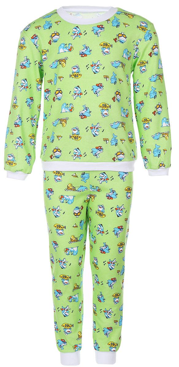 Пижама детская Фреш Стайл, цвет: зеленый с рисунком. 33-5872. Размер 9233-5872Пижама Фреш Стайл, состоящая из футболки с длинными рукавами и брюк, идеально подойдет ребенку для отдыха и сна. Модель выполнена из натурального хлопка, очень приятная к телу, не сковывает движения, хорошо пропускает воздух. Пижама оформлена яркими рисунками. Футболка с длинными рукавами и круглым вырезом горловины. Воротник, низ рукавов и низ изделия дополнены трикотажными резинками. Брюки прямого кроя имеют на талии мягкую резинку, благодаря чему они не сдавливают животик ребенка и не сползают. Низ брючин дополнен эластичными манжетами. В такой пижаме ребенок будет чувствовать себя комфортно и уютно!
