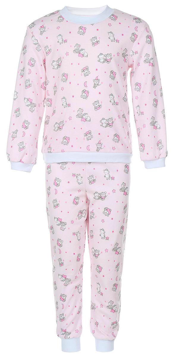Пижама детская Фреш Стайл, цвет: розовый с рисунком. 33-5872. Размер 11033-5872Пижама Фреш Стайл, состоящая из футболки с длинными рукавами и брюк, идеально подойдет ребенку для отдыха и сна. Модель выполнена из натурального хлопка, очень приятная к телу, не сковывает движения, хорошо пропускает воздух. Пижама оформлена оригинальным принтом с изображением очаровательных зверушек. Футболка с длинными рукавами имеет круглый вырез горловины, оформленный трикотажной резинкой контрастного цвета. Рукава и низ изделия также дополнены трикотажными резинками. Брюки прямого кроя имеют на талии мягкую резинку, благодаря чему они не сдавливают животик ребенка и не сползают. Низ брючин дополнен эластичными манжетами. В такой пижаме ребенок будет чувствовать себя комфортно и уютно!