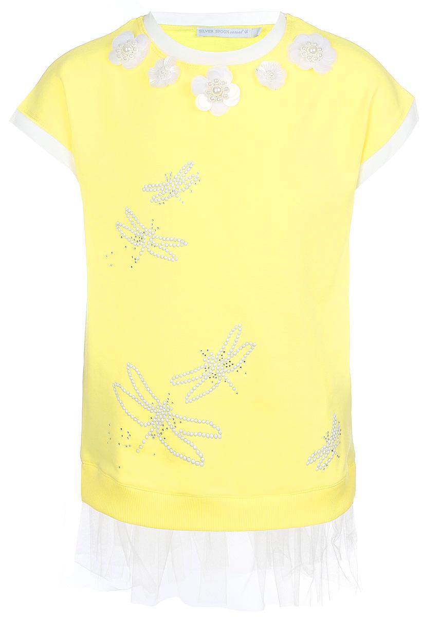Туника для девочки Silver Spoon, цвет: желтый. SCFSG-618-25108-500 мод.F6-001. Размер 92, 2 годаSCFSG-618-25108-500 мод.F6-001Оригинальная туника для девочки Silver Spoon в стиле Casual идеально подойдет маленькой моднице. Изготовленная из эластичного хлопка, она очень мягкая и приятная на ощупь, не сковывает движения ребенка и позволяет коже дышать, обеспечивая комфорт.Туника с короткими цельнокроеными рукавами и круглым вырезом горловины украшена спереди аппликациями в виде стрекоз и декоративными цветами с перламутровыми бусинками в сердцевине. Вырез горловины и края рукавов оформлены вставками из микросетки. Низ модели дополнен трикотажной резинкой и двойной воздушной оборкой из микросетки. По бокам предусмотрены небольшие разрезы. Туника декорирована стразами. Стильный дизайн и расцветка делают эту тунику модным предметом детской одежды. В ней маленькая принцесса всегда будет в центре внимания!