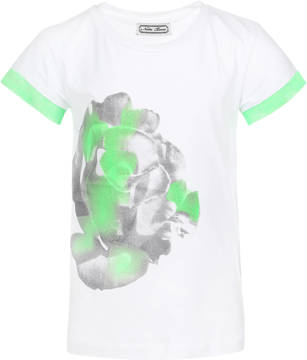 Футболка для девочки Nota Bene, цвет: белый, зеленый. SS162G285-1. Размер 146SS162G285-1Удобная и практичная футболка для девочки Nota Bene идеально подойдет вашей малышке. Изготовленная из эластичного хлопка, она невероятно мягкая и приятная на ощупь, великолепно тянется и превосходно пропускает воздух, благодаря чему идеально подойдет для активных игр и повседневной носки. Футболка с короткими рукавами и круглым вырезом горловины украшена контрастной окантовкой на рукавах из микросетки. Модель декорирована принтом с изображением розы и блестящим напылением. Оригинальный современный дизайн и модная расцветка делают эту футболку модным и стильным предметом детского гардероба. В ней ваша маленькая модница будет чувствовать себя уютно и комфортно, и всегда будет в центре внимания!