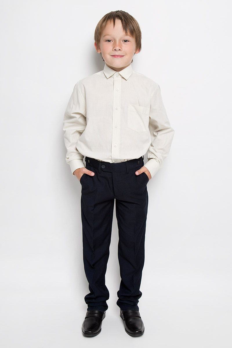 Рубашка для мальчика Tsarevich, цвет: бежевый. Cloud Cover X. Размер 34/152-158Cloud Cover XКлассическая рубашка для мальчика Tsarevich отлично сочетается как с джинсами, так и с брюками. Она выполнена из хлопка с добавлением полиэстера. Материал изделия легкий, мягкий и приятный на ощупь, не сковывает движения и позволяет коже дышать.Рубашка прямого кроя с длинными рукавами и отложным воротником застегивается на пуговицы по всей длине. Манжеты рукавов также имеют застежки-пуговицы. На груди расположен накладной карман. Такая рубашка займет достойное место в детском гардеробе!
