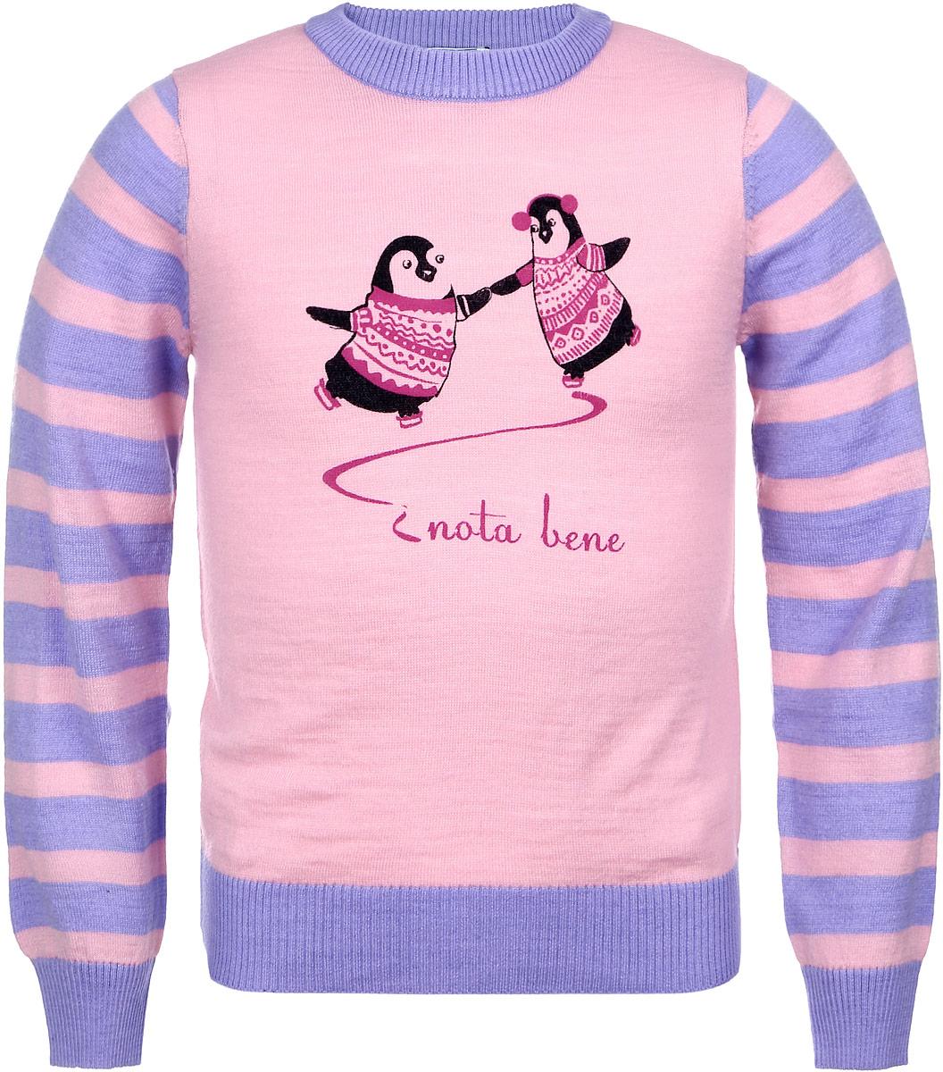 Джемпер для девочки Nota Bene, цвет: розовый, сиреневый. WK6441-56. Размер 110WK6441-56Модный джемпер для девочки Nota Bene подарит вашей маленькой принцессе комфорт и удобство в прохладные дни. Изготовленный из высококачественной комбинированной пряжи, он необычайно мягкий и приятный на ощупь, не сковывает движения малышки и позволяет коже дышать, не раздражает даже самую нежную и чувствительную детскую кожу, обеспечивая наибольший комфорт. Джемпер с длинными рукавами и круглым вырезом горловины превосходно тянется и отлично сидит. Горловина, манжеты рукавов и низ джемпера связаны резинкой. Джемпер украшен рисунком в виде двух пингвинов на коньках. Оригинальный современный дизайн и модная расцветка делают этот джемпер практичным и стильным предметом детского гардероба. В нем ваша дочурка будет чувствовать себя уютно и комфортно и всегда будет в центре внимания!