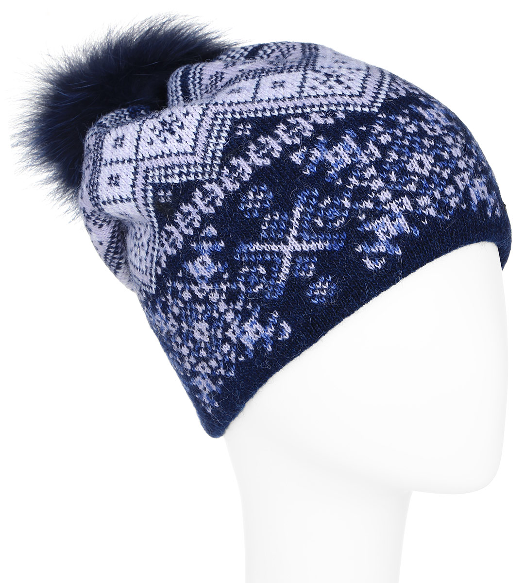 Шапка женская Finn Flare, цвет: темно-синий, сиреневый. A16-12136_101. Размер 56A16-12136_101Стильная женская шапка Finn Flare дополнит ваш наряд и не позволит вам замерзнуть в холодное время года. Шапка выполнена из высококачественной пряжи, что позволяет ей великолепно сохранять тепло и обеспечивает высокую эластичность и удобство посадки.Модель оформлена оригинальным орнаментом и дополнена пушистым помпоном из меха песца. Такая шапка станет модным и стильным дополнением вашего гардероба. Она согреет вас и позволит подчеркнуть свою индивидуальность!