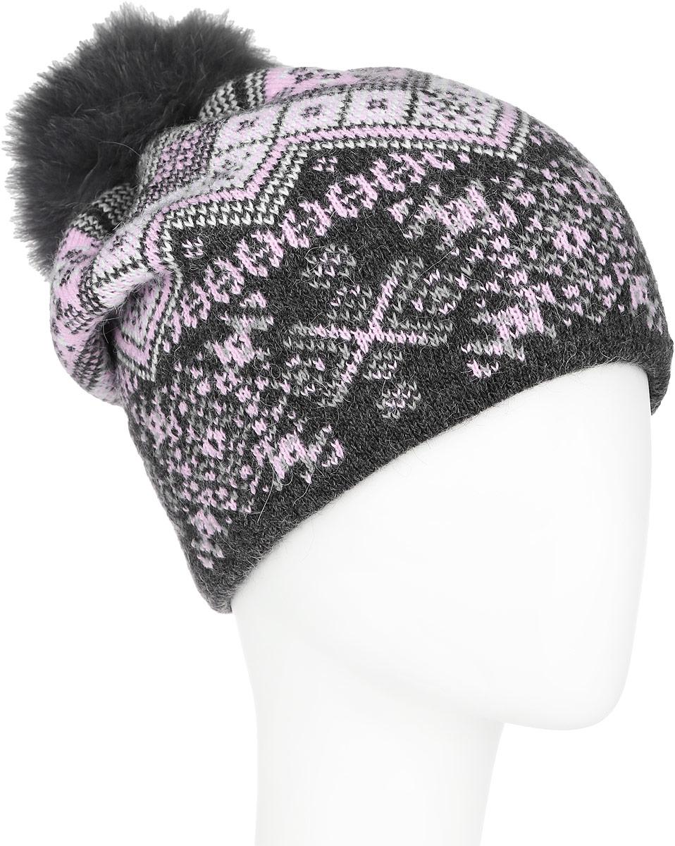 Шапка женская Finn Flare, цвет: темно-серый, розовый. A16-12136_204. Размер 56A16-12136_204Стильная женская шапка Finn Flare дополнит ваш наряд и не позволит вам замерзнуть в холодное время года. Шапка выполнена из высококачественной пряжи, что позволяет ей великолепно сохранять тепло и обеспечивает высокую эластичность и удобство посадки.Модель оформлена оригинальным орнаментом и дополнена пушистым помпоном из меха песца. Такая шапка станет модным и стильным дополнением вашего гардероба. Она согреет вас и позволит подчеркнуть свою индивидуальность!