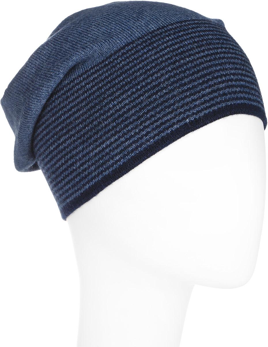 Шапка мужская Finn Flare, цвет: серо-синий. A16-21154_101. Размер 58A16-21154_101Стильная мужская шапка Finn Flare отлично дополнит ваш образ в холодную погоду. Сочетание шерсти и акрила максимально сохраняет тепло и обеспечивает удобную посадку. Шапка по низу оформлена принтом в тонкую полоску и металлической эмблемой с логотипом производителя. Такая модель комфортна и приятна на ощупь, она великолепно подчеркнет ваш вкус.