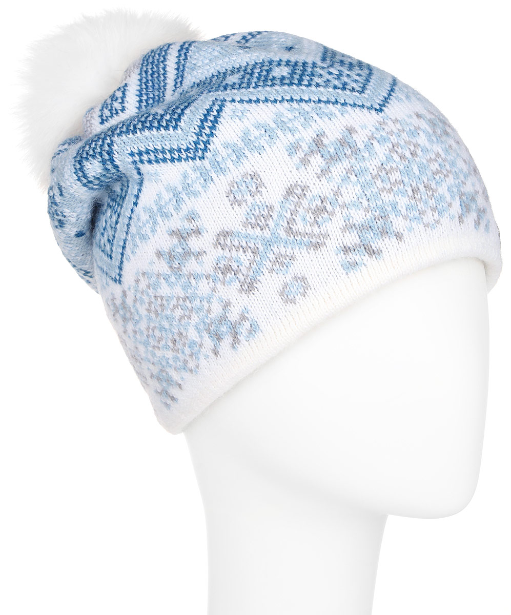 Шапка женская Finn Flare, цвет: белый, синий, голубой. A16-12136_201. Размер 56A16-12136_201Стильная женская шапка Finn Flare дополнит ваш наряд и не позволит вам замерзнуть в холодное время года. Шапка выполнена из высококачественной пряжи, что позволяет ей великолепно сохранять тепло и обеспечивает высокую эластичность и удобство посадки.Модель оформлена оригинальным орнаментом и дополнена пушистым помпоном из меха песца. Такая шапка станет модным и стильным дополнением вашего гардероба. Она согреет вас и позволит подчеркнуть свою индивидуальность!