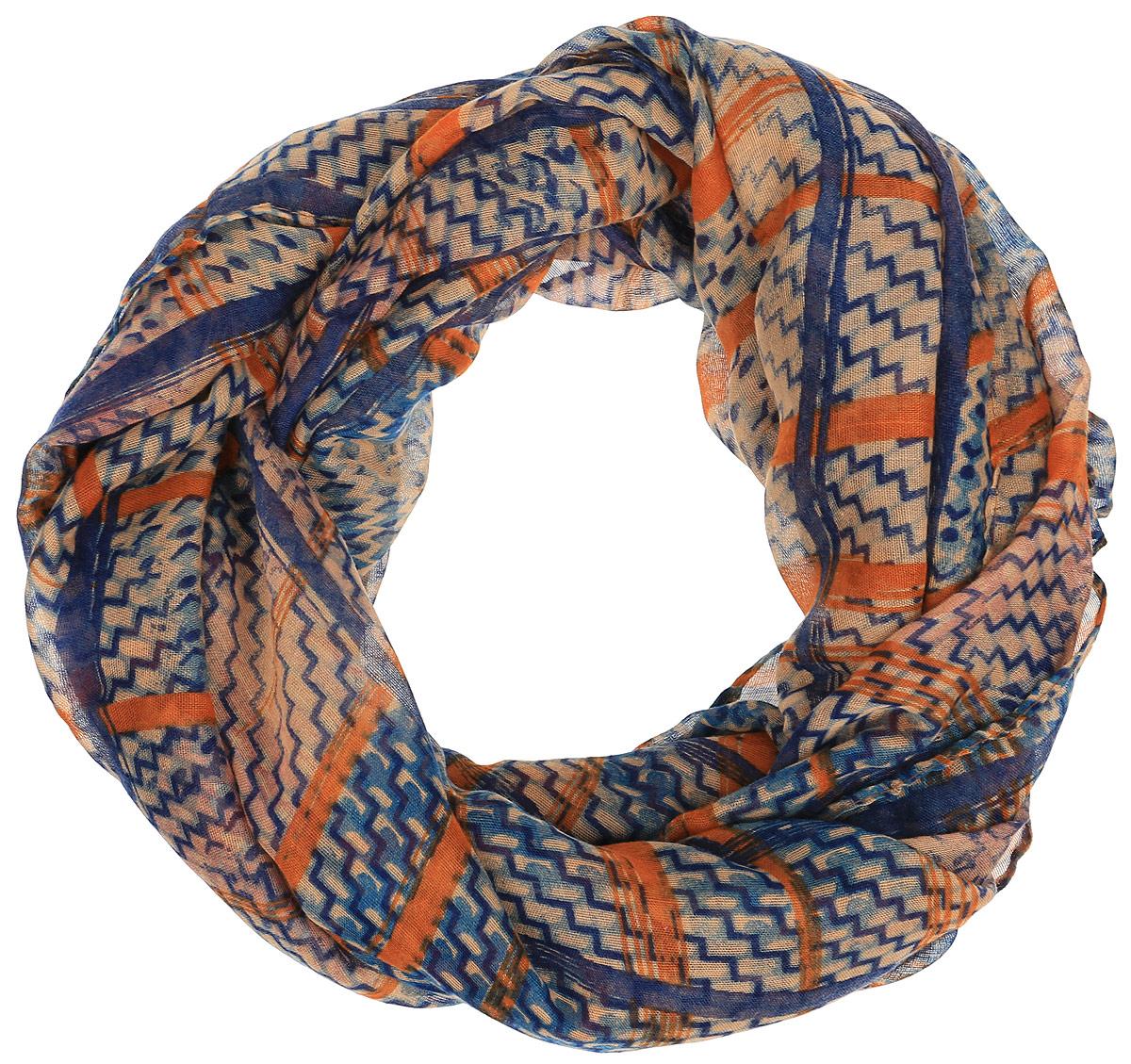 Палантин женский Finn Flare, цвет: синий, оранжевый. A16-11411_132. Размер 88 см х 188 смA16-11411_132Элегантный палантин Finn Flare согреет вас в непогоду и станет достойным завершением вашего образа.Палантин изготовлен из натуральной вискозы. Он оформлен оригинальным принтом в виде полос и зигзагов. Такой палантин превосходно дополнит любой наряд и подчеркнет ваш изысканный вкус. Легкий и изящный палантин принесет в ваш образ утонченность и шарм, и непременно вызовет восхищение окружающих.