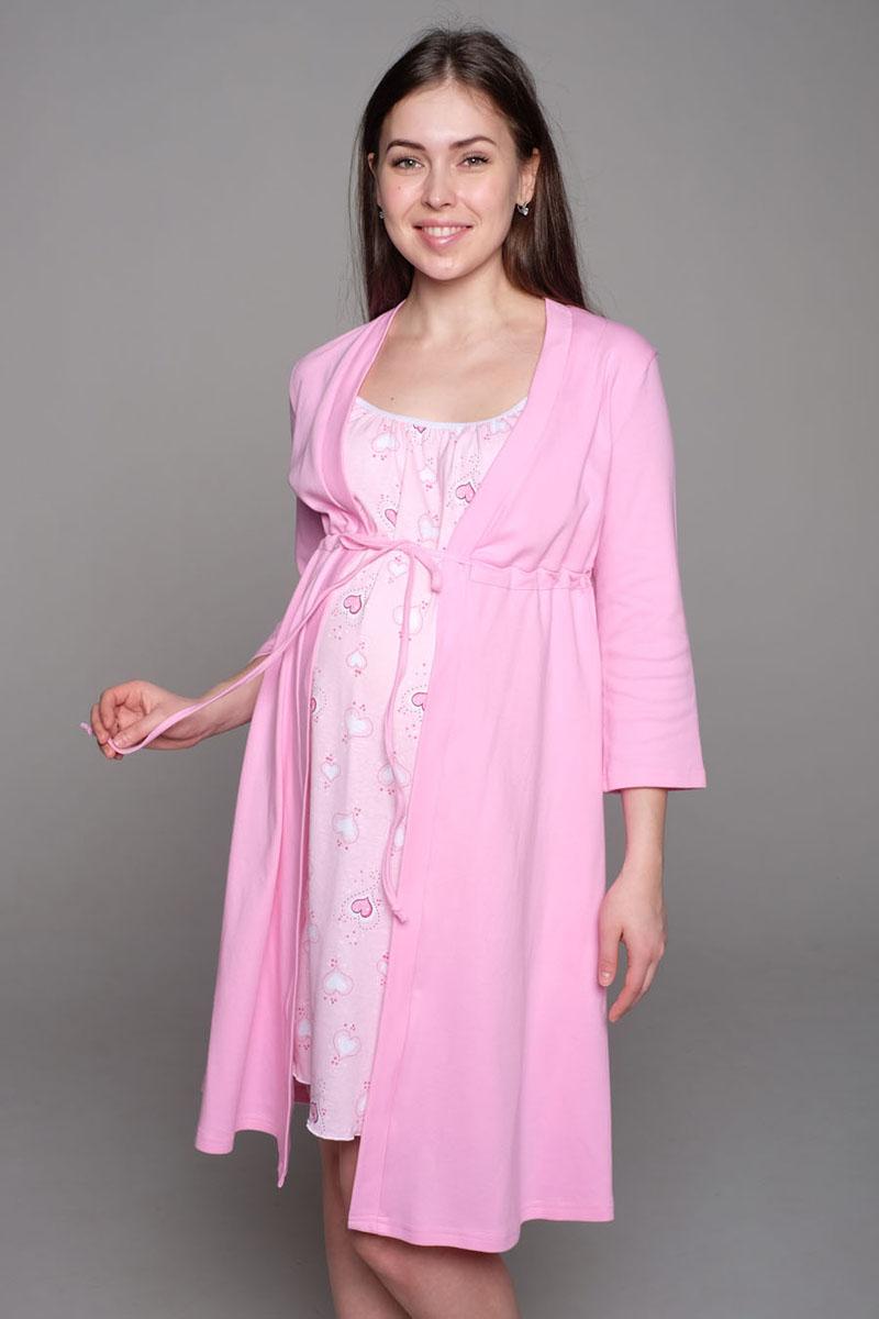 Комплект для беременных и кормящих Hunny Mammy: халат, сорочка ночная, цвет: розовый, сердца. К 09221. Размер 50К 09221Комплект, выполненный из хлопка, состоит из ночной сорочки и халата. Халат-пеньюар трапециевидного силуэта, рукав 3/4. Сорочка на бретели с клипсой для кормления.