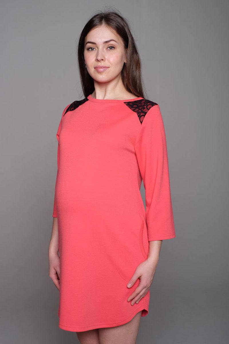 Платье-туника для беременных Hunny Mammy, цвет: коралловый. 16511. Размер 4616511Яркое платье-туника - замечательный вариант для модниц: отлично смотрится и с леггинсами, и отдельно - как маленькое платье.