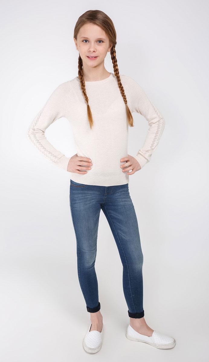 Джемпер для девочки Acoola Furia, цвет: бежевый. 20210310023_800. Размер 14020210310023_800Джемпер Acoola Furia прекрасно подойдет для прохладной погоды. Натуральный материал приятен к телу и не сковывает движений ребенка. Мягкие резинки на манжетах и на горловине обеспечивают сохранность формы изделия. Рукава оформлены ажурной вязкой