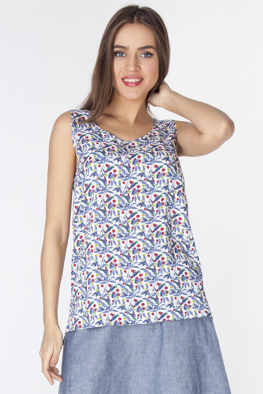Блузка женская Vis-A-Vis, цвет: синий, белый. L3216. Размер L (48)L3216Стильная блузка без рукавов и с круглым вырезом горловины выполнена из 100% района. Модель полуприлегающего силуэта с небольшими разрезами по бокам.
