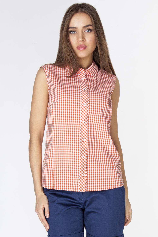 Блузка женская Vis-A-Vis, цвет: оранжевый. L3251. Размер M (46)L3251Блузка прилегающего силуэта выполнена из натурального хлопка. Модель без рукавов с отложным воротником застегивается на пуговицы спереди.
