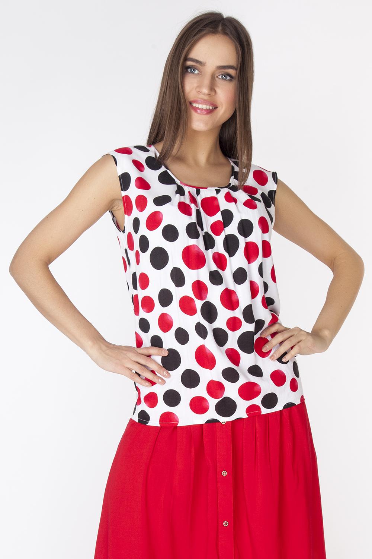 Блузка женская Vis-A-Vis, цвет: белый, черный, красный. L3254. Размер L (48)L3254Легкая блузка из вискозной ткани без рукавов, с круглым вырезом горловины и выходящими из него складками.