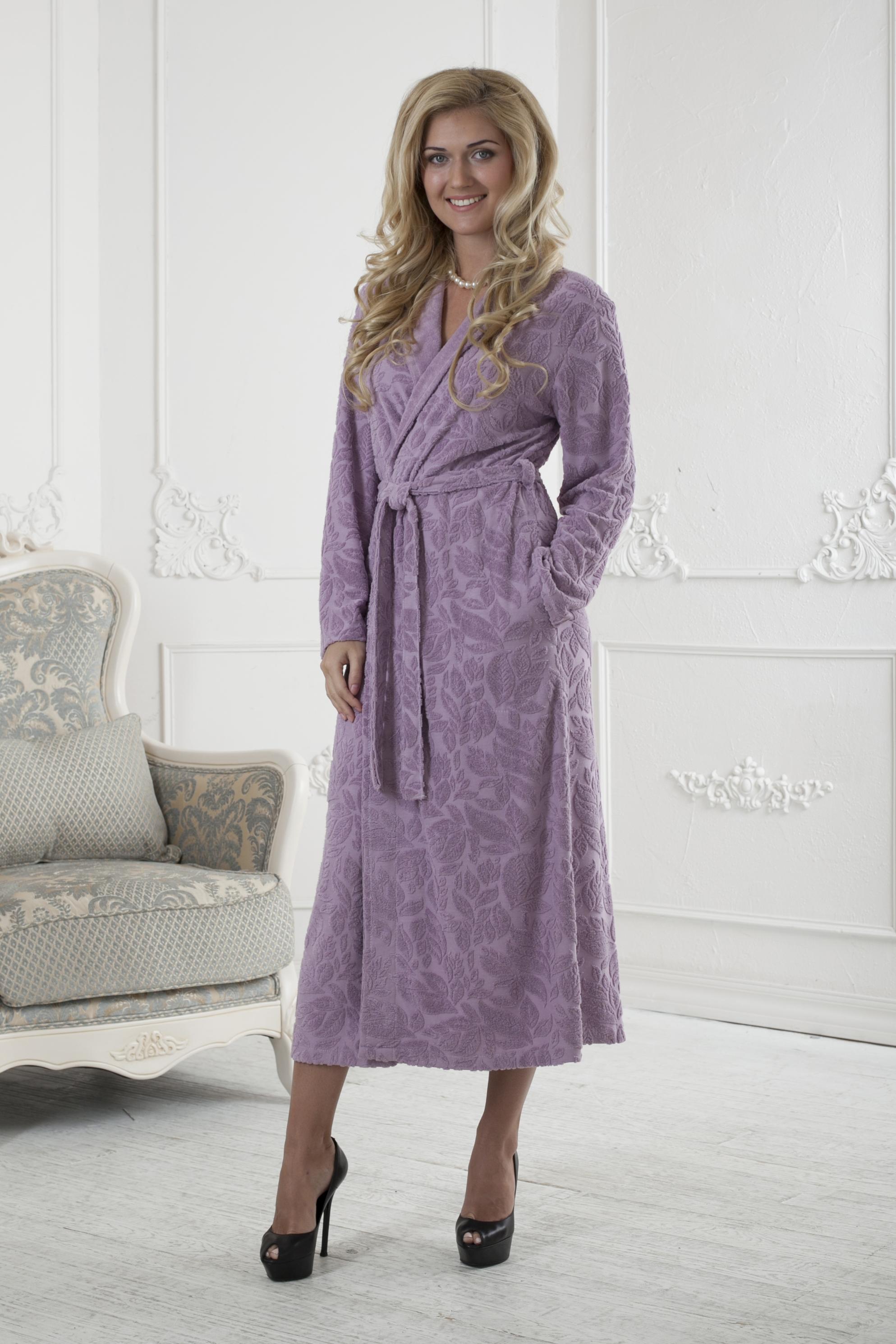 Халат женский Five Wien Home, цвет: розовый. 411. Размер S/M (44/46)411Очень мягкий и приятный женский халат из трикотажного бамбука. Очень элегантная и женственная модель. Объемная текстура по всему халату.