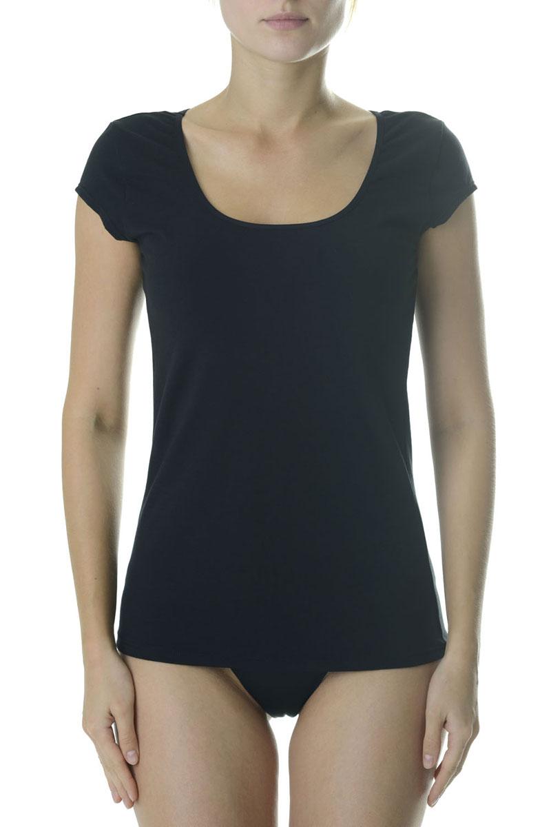 Футболка женская Vis-A-Vis, цвет: черный. LF1012. Размер XS (42)LF1012Стильная футболка с глубоким вырезом горловины и оригинальным мини - рукавом. Максимальный комфорт и функциональность. Изделие выполнено из мягкого эластичного хлопка.