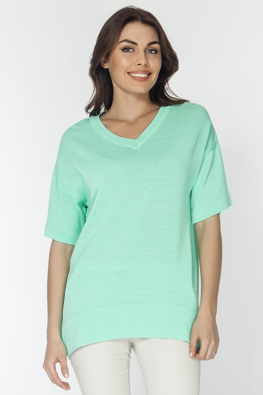 Джемпер женский Vis-A-Vis, цвет: светло-зеленый. VIS-0250V. Размер L (48)VIS-0250VВязаный джемпер полуприлегающего силуэта c V-образным вырезом горловины и короткими рукавами, по низу боковых швов небольшие разрезы.