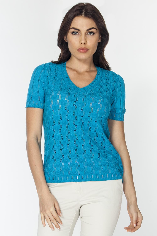 Джемпер женский Vis-A-Vis, цвет: голубой. VIS-0267V. Размер XL (50)VIS-0267VОднотонный джемпер полуприлегающего силуэта с короткими рукавами и V-образным вырезом горловины. Изделие выполнено из хлопка с добавлением акрила и имеет фактурное переплетение.