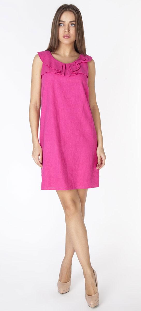 Платье Vis-A-Vis, цвет: фуксия. D3261. Размер L (48)D3261Платье полуприлегающего силуэта из ткани со льном, без рукавов, с застежкой на молнию на спинке. Горловина украшена фигурными складками в виде банта.