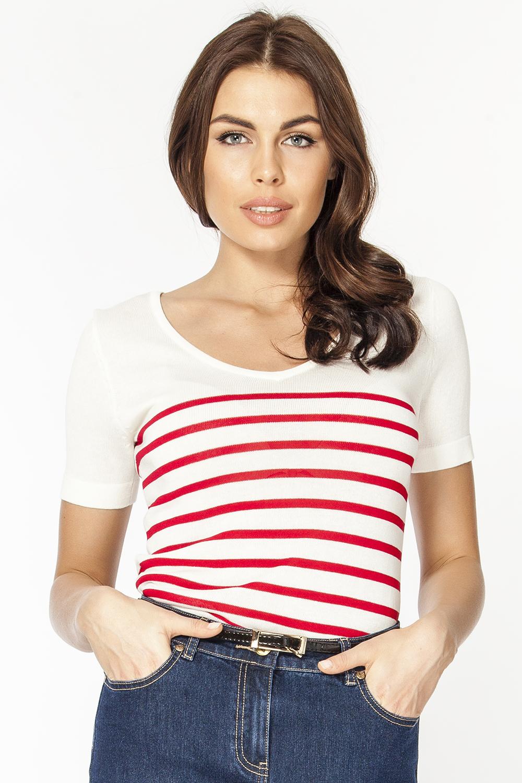 Джемпер женский Vis-A-Vis, цвет: белый, красный. VIS-0291V. Размер L (48)VIS-0291VВязаный джемпер полуприлегающего силуэта с V-образным вырезом горловины и короткими рукавами. Модель декорирована контрастными полосками.