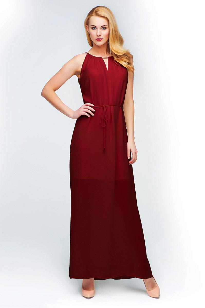 Платье Vis-A-Vis, цвет: шоколадный. D15-517. Размер L (48)D15-517Элегантное макси-платье без рукавов, на тонких изящных бретелях. Силуэт платья дополняется тонким пояском.