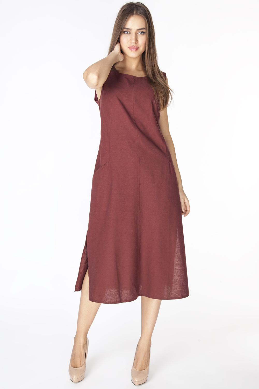 Платье Vis-A-Vis, цвет: коричневый. D3201. Размер XL (50)D3201Длинное платье полуприлегающего силуэта из ткани со льном. Модель с круглым вырезом горловины, без рукавов и фигурными рельефами и прорезными карманами на полочке.
