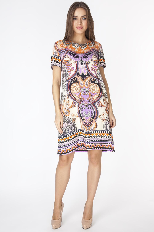 Платье Vis-A-Vis, цвет: лиловый, бежевый, оранжевый. D3206. Размер S (44)D3206Эффектное платье свободного силуэта длиной выше колена с короткими рукавами. Модель выполнена из вискозной ткани с абстрактным принтом.