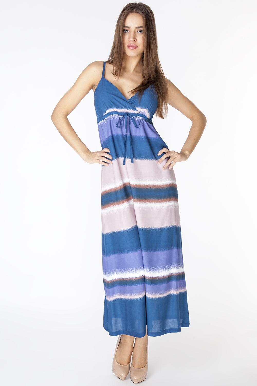 Сарафан Vis-A-Vis, цвет: синий, бежевый. D3215. Размер XL (50)D3215Летний легкий сарафан, из тонкой вискозной ткани на подкладке. Модель отрезная под грудью, на тонких регулируемых бретелях.