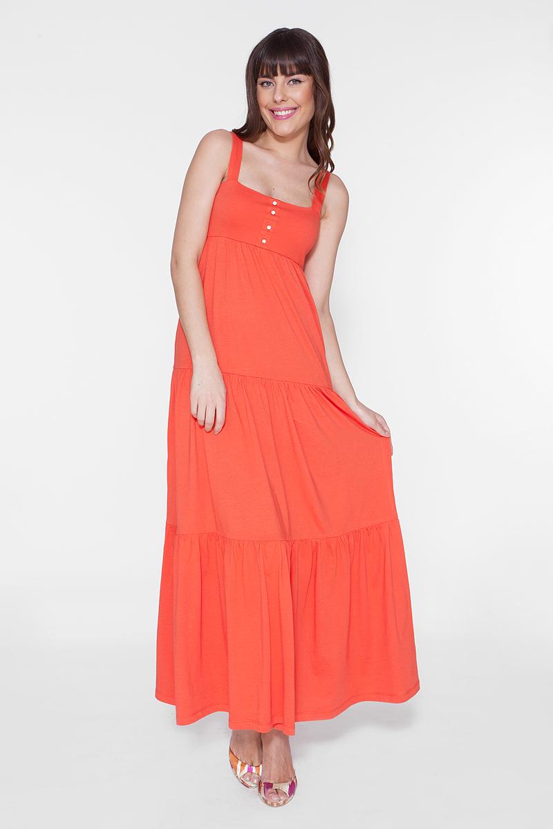 Платье Vis-A-Vis, цвет: оранжевый. DR6080. Размер L (48)DR6080Длинное платье-сарафан выполнено из хлопка и полиэстера. Лиф платья двойной с ложной застежкой.