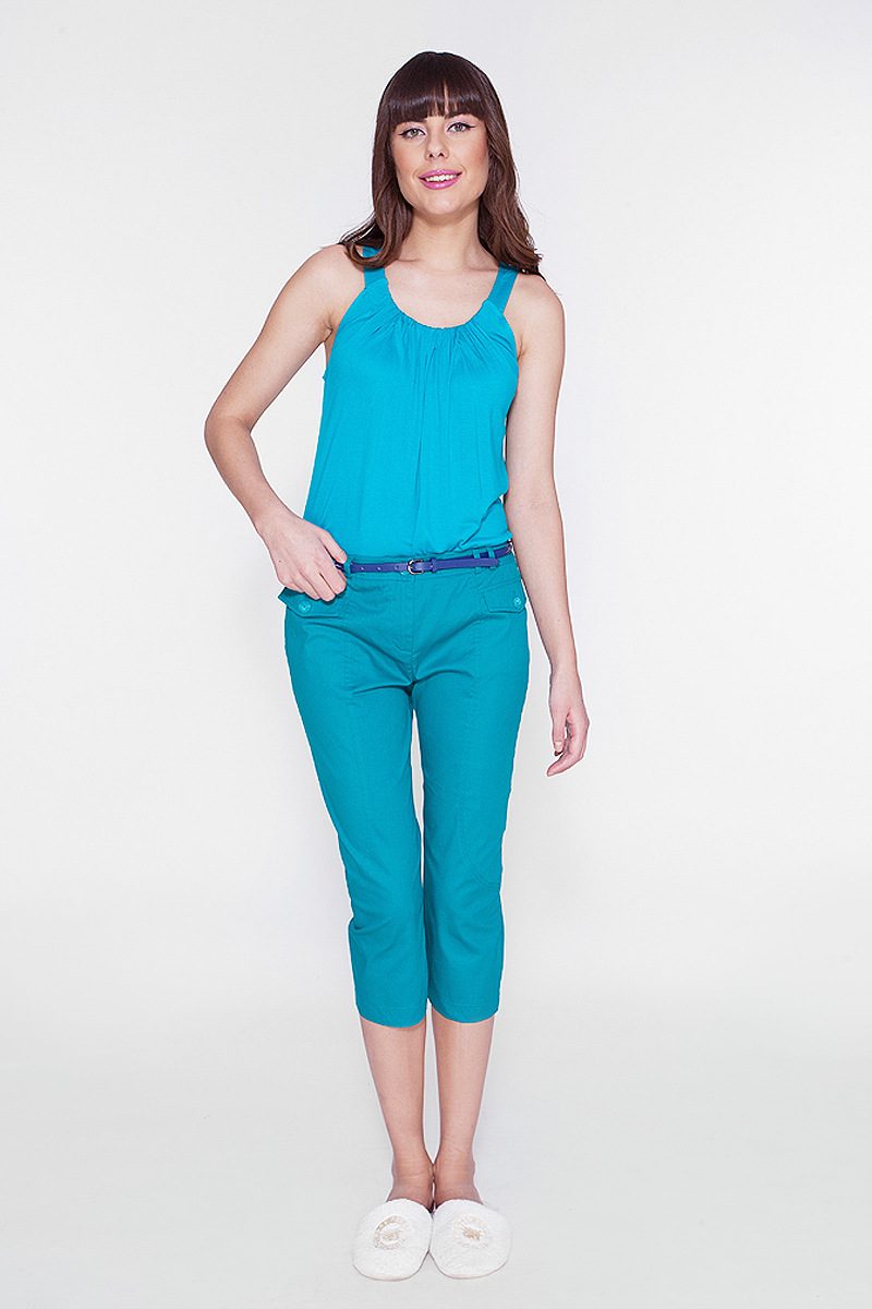 Топ женский Vis-A-Vis, цвет: сине-зеленый. LTV6036. Размер XL (50)LTV6036Топ из эластичной вискозы с эффектными складками по горловине.