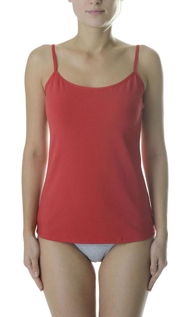 Майка женская Vis-A-Vis, цвет: красный. LM1015-1. Размер XS (42)LM1015-1Стильная майка полуприлегающего силуэта на тонких бретелях с глубокой линией декольте выполнена из эластичного хлопка.