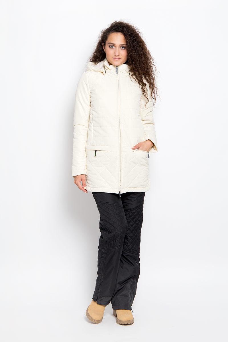 Куртка женская Finn Flare, цвет: светло-бежевый. A16-32006_705. Размер XS (42)A16-32006_705Удобная женская куртка Finn Flare согреет вас в прохладную погоду и позволит выделиться из толпы. Удлиненная модель с длинными рукавами и высоким воротником-стойкой выполнена из прочного полиэстера с добавлением хлопка и застегивается на молнию спереди. Куртка имеет съемный капюшон на кнопках, объем которого регулируется при помощи шнурка-кулиски со стопперами.Изделие оформлено оригинальным стеганым узором и дополнено двумя втачными карманами на молниях и двумя нагрудными карманами на молниях спереди. Плотный наполнитель из синтепона надежно сохранит тепло, благодаря чему такая куртка защитит вас от ветра и холода. Эта модная и в то же время комфортная куртка - отличный вариант для прогулок, она подчеркнет ваш изысканный вкус и поможет создать неповторимый образ.