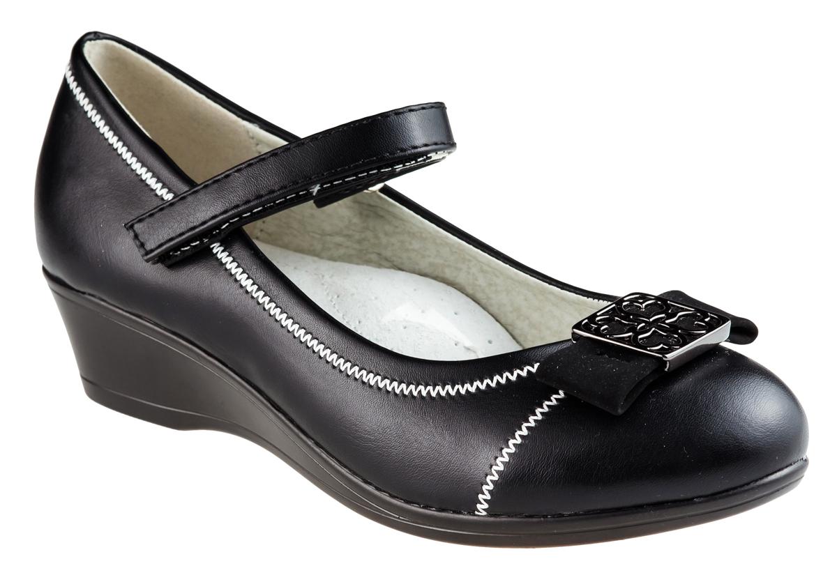 Туфли для девочки Аdagio, цвет: черный. MX83080-36. Размер 36MX83080-36Модные туфли для девочки от Аdagio выполнены из искусственной кожи и оформлены контрастной декоративной прострочкой. Мыс изделия дополнен декоративным бантиком с металлическим элементом. Внутренняя поверхность из натуральной кожи не натирает. Стелька из ЭВА материала с поверхностью из натуральной кожи дополнена супинатором. Ремешок с застежкой-липучкой надежно зафиксирует модель на ноге. Подошва дополнена рифлением.