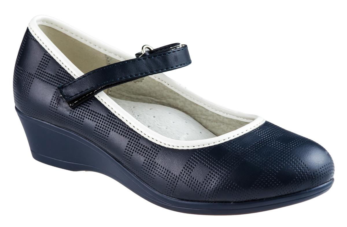 Туфли для девочки Аdagio, цвет: темно-синий. MX83080-30. Размер 35MX83080-30Модные туфли для девочки от Аdagio, выполненные из искусственной кожи, оформлены декоративным тиснением и контрастной окантовкой. Внутренняя поверхность из натуральной кожи не натирает. Стелька из ЭВА материала с поверхностью из натуральной кожи дополнена супинатором. Ремешок с застежкой-липучкой надежно зафиксирует модель на ноге. Подошва дополнена рифлением.