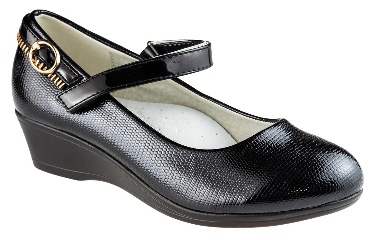 Туфли для девочки Аdagio, цвет: черный. MX621-31. Размер 31MX621-31Модные туфли для девочки от Аdagio, выполненные из искусственной лакированной кожи, оформлены тиснением под рептилию, на заднике - декоративным ремешком с молнией. Внутренняя поверхность из натуральной кожи не натирает. Стелька из ЭВА материала с поверхностью из натуральной кожи дополнена супинатором. Ремешок с застежкой-липучкой надежно зафиксирует модель на ноге. Подошва дополнена рифлением.