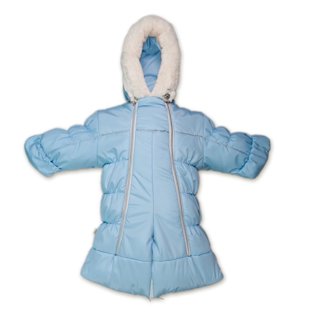 Комбинезон-трансформер детский Сонный Гномик Бамбино, цвет: голубой. 2802/1. Размер 742802/1Теплый комбинезон-трансформер Сонный Гномик Бамбино изготовлен из полиэстера на мягкой текстильной подкладке. На модели предусмотрена съемная подстежка из натуральной овечьей шерсти. В качестве утеплителя используется синтепон, также изделие оснащено теплосберегающей мембраной Shelter Kids (200г/кв.м). Комбинезон-трансформер с капюшоном и длинными рукавами застегивается на две вертикальные молнии спереди по всей длине. Капюшон, декорированный несъемной опушкой из искусственного меха, дополнен по краю эластичным шнурком со стоппером. Манжеты рукавов дополнены отворотами, которые защитят ручки малыша от холода. Благодаря удобной системе молний и кнопок на брючинах комбинезон можно легко трансформировать в конверт с рукавами. В комплект с комбинезоном входят теплые пинетки.