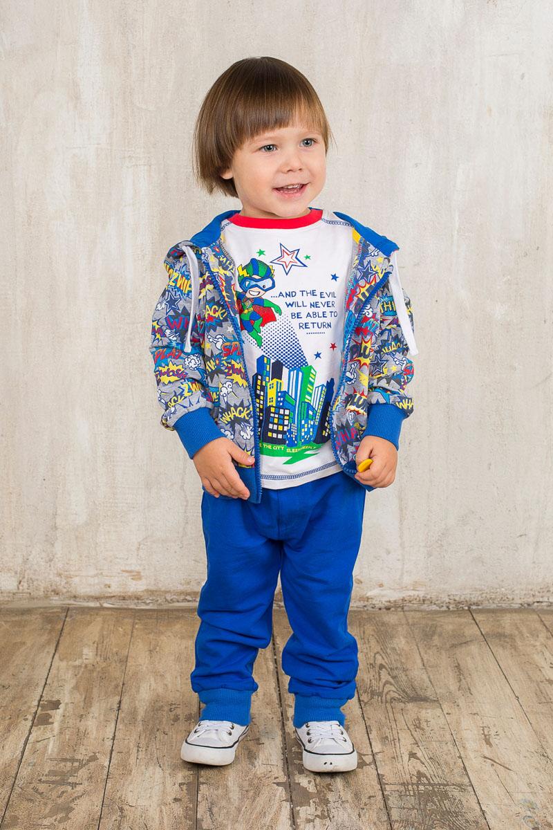 Спортивный костюм для мальчика Sweet Berry Baby, цвет: синий, серый, желтый. 196108. Размер 80, 12 месяцев196108Спортивный костюм для мальчика Sweet Berry Baby, состоящий из толстовки и брюк, идеально подойдет вашему малышу и станет отличным дополнением к гардеробу. Изготовленный из эластичного хлопка, он необычайно мягкий и приятный на ощупь, не сковывает движения и позволяет коже дышать, не раздражает даже самую нежную и чувствительную кожу ребенка, обеспечивая ему наибольший комфорт.Толстовка с капюшоном на кулиске и длинными рукавами спереди застегивается на пластиковую застежку-молнию. Рукава и низ изделия дополнены эластичными вставками, препятствующими проникновению холодного воздуха. Модель оформлена оригинальным принтом. Спортивные брюки на поясе имеют широкую эластичную резинку со шнурком, благодаря чему они не сдавливают животик и не сползают. Спереди имеется имитация ширинки. Брючины дополнены эластичными резинками.Такой спортивный костюм удачно сочетает в себе красоту, комфорт и практичность! В нем юный модник всегда будет в центре внимания!