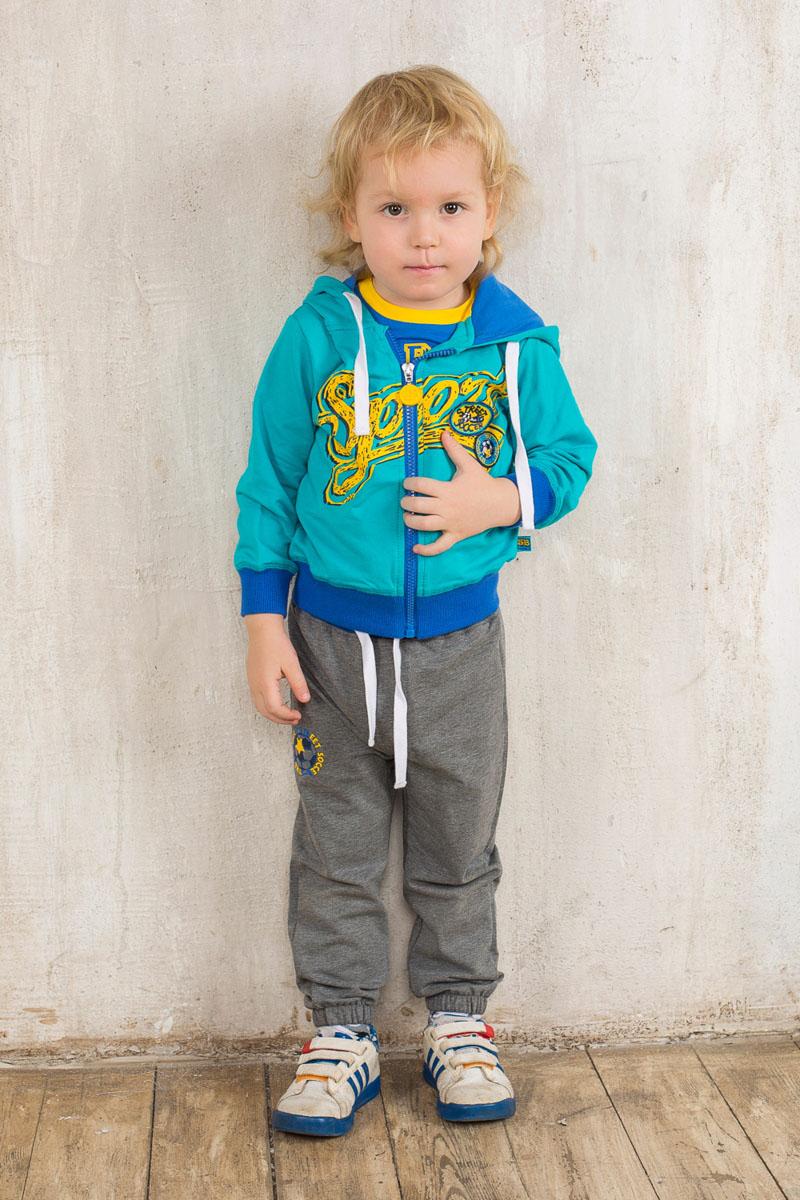 Спортивный костюм для мальчика Sweet Berry Baby, цвет: бирюзовый, серый меланж, синий. 196122. Размер 80, 12 месяцев196122Спортивный костюм для мальчика Sweet Berry Baby, состоящий из толстовки и брюк, идеально подойдет вашему маленькому моднику и станет отличным дополнением к его гардеробу. Изготовленный из эластичного хлопка, он необычайно мягкий и приятный на ощупь, не сковывает движения и позволяет коже дышать, обеспечивая наибольший комфорт. Толстовка с капюшоном и длинными рукавами застегивается на пластиковую молнию. Капюшон с трикотажной подкладкой дополнен затягивающимся шнурком по краю. По низу изделия проходит широкая трикотажная резинка, а на рукавах имеются трикотажные манжеты, не стягивающие запястья. Толстовка оформлена яркой термоаппликацией с надписью, украшена нашивками. Спортивные брюки прямого кроя на поясе имеют широкую эластичную резинку, регулируемую шнурком, благодаря чему они не сдавливают животик малыша и не сползают. Низ брючин присборен на мягкие резинки. Изделие оформлено принтом и надписями. В таком костюме ребенок будет чувствовать себя комфортно, уютно и всегда будет в центре внимания!