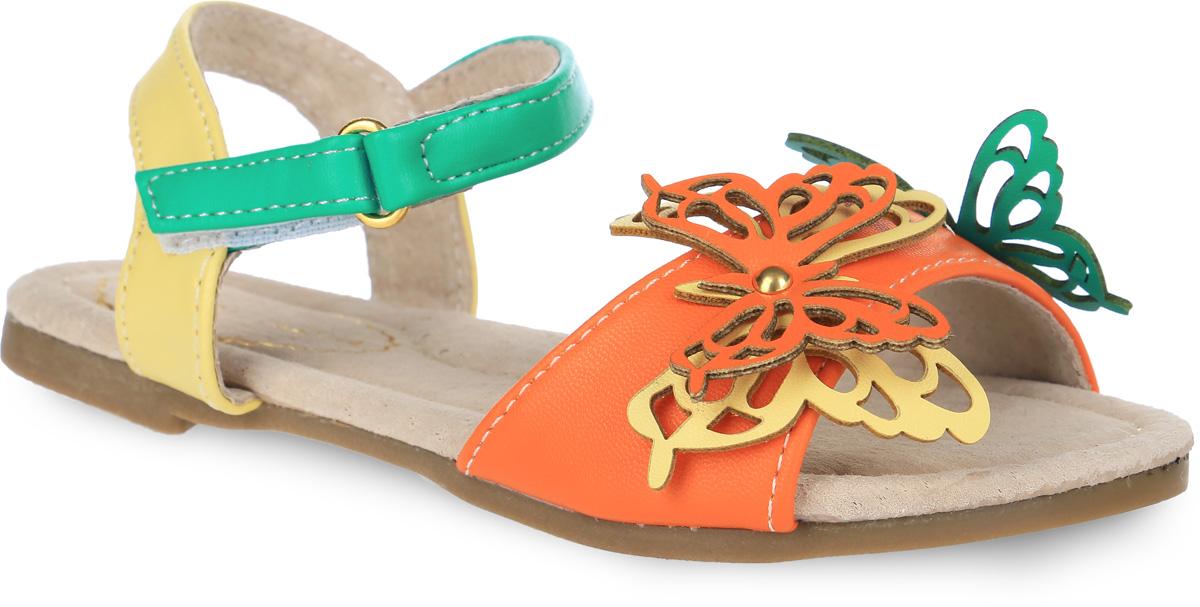 Сандалии для девочки Аллигаша, цвет: оранжевый, зеленый, светло-желтый. 000350305. Размер 32000350305Яркие сандалии Аллигаша придутся по душе вашей маленькой моднице и идеально подойдут для повседневной носки в летнюю погоду! Модель изготовлена из искусственной кожи. Передний ремешок украшен аппликациями в виде бабочек, посередине украшенными металлической клепкой. Ремешок на застежке-липучке надежно зафиксирует модель на ноге ребенка. Стелька с супинатором, выполненная из натуральной кожи, обеспечивает правильное положение ноги ребенка при ходьбе, предотвращает плоскостопие. Низкий устойчивый каблучок. Подошва с рифлением гарантирует отличное сцепление с любой поверхностью. Стильные сандалии - незаменимая вещь в гардеробе каждой девочки!