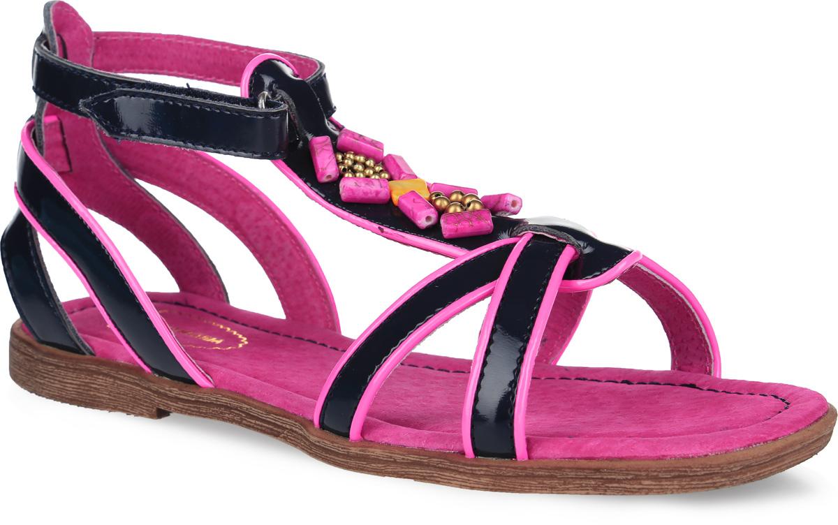 Сандалии для девочки Аллигаша, цвет: темно-синий, розовый. 174. Размер 37174Прелестные сандалии от Аллигаша придутся по душе вашей девочке и идеально подойдут для повседневной носки в летнюю погоду! Модель, выполненная из искусственной лакированной кожи, оформлена на подъеме декоративными элементами. Ремешок с застежкой-липучкой обеспечивает надежную фиксацию модели на ноге. Внутренняя поверхность и стелька из натуральной кожи комфортны при ходьбе. Подошва с рифлением гарантирует отличное сцепление с любой поверхностью. Стильные сандалии - незаменимая вещь в гардеробе каждой девочки!
